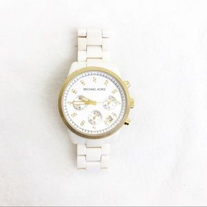 Michael Kors • Ceramic White Cream Gold Watch